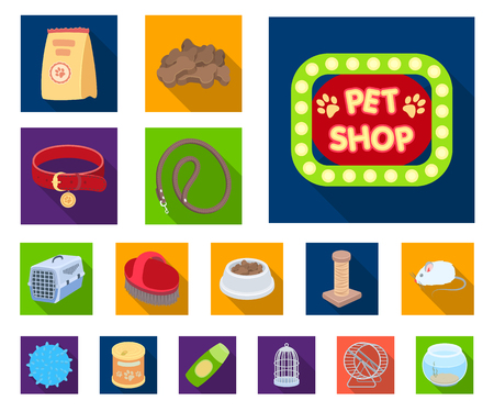 Pet shop flat icons in set collection for design.The goods for animals vector symbol stock web illustration.