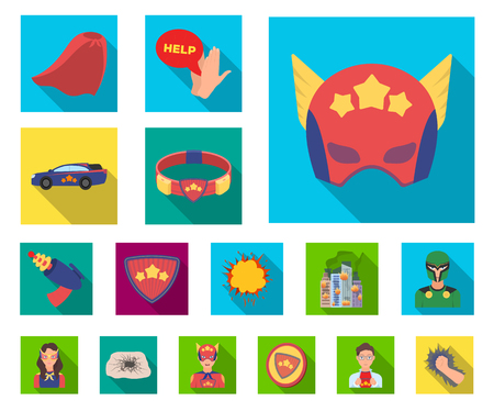 A fantastic superhero flat icons in set collection for design. Superheros equipment vector symbol stock web illustration.