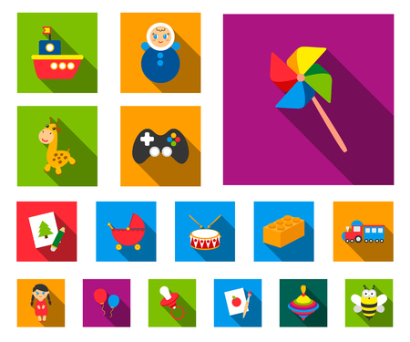 Childrens toy flat icons in set collection for design. Game and bauble vector symbol stock web illustration.