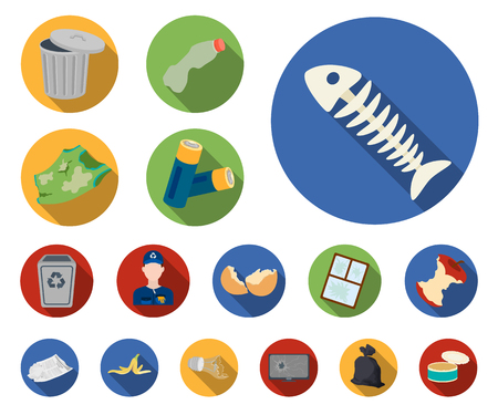 Garbage and waste flat icons in set collection for design. Cleaning garbage vector symbol stock web illustration.