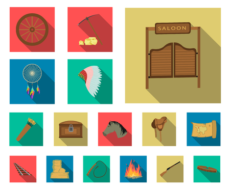 Attributes of the wild west flat icons in set collection for design.Texas and America vector symbol stock web illustration. Illustration