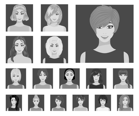 Types of female hairstyles flat icons in set collection for design. Appearance of a woman vector symbol stock web illustration. 向量圖像