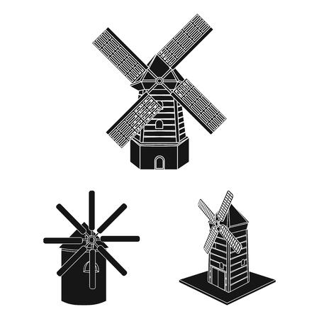 Vector illustration of landscape and village logo. Set of landscape and farm vector icon for stock. Reklamní fotografie - 113897791