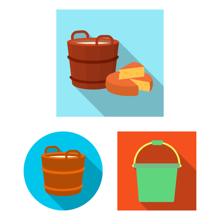 Isolated object of bucket and water sign. Set of bucket and full stock symbol for web. Ilustracje wektorowe