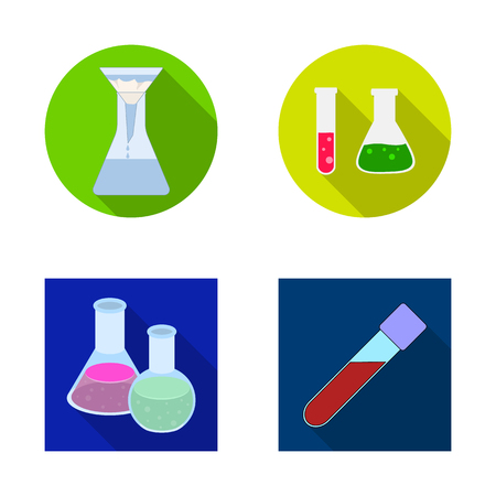 Vector illustration of flask and laboratory icon. Collection of flask and equipment vector icon for stock. Stock Illustratie