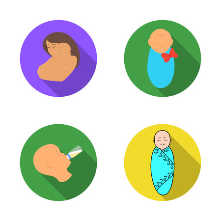 Vector design of infant and character icon. Set of infant and happy stock vector illustration.
