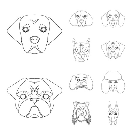 Vector illustration of cute and puppy symbol. Set of cute and animal stock vector illustration. Stock Illustratie