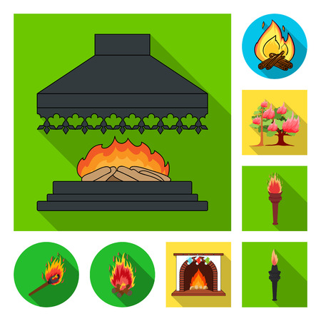 Vector design of fire and flame logo. Set of fire and fireball vector icon for stock.