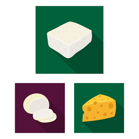 Different kind of cheese flat icons in set collection for design.Milk product cheese bitmap symbol stock web illustration. Фото со стока