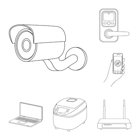 Smart home appliances outline icons in set collection for design. Modern household appliances bitmap symbol stock web illustration.