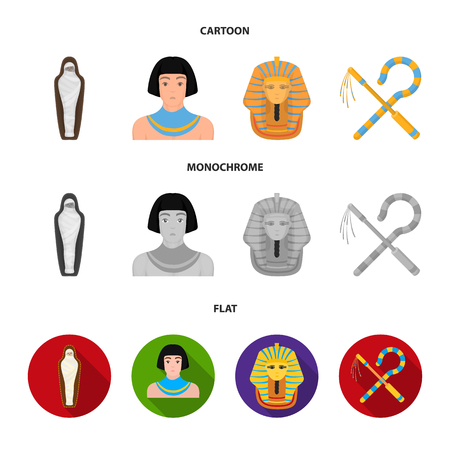 Crook and flail,a golden mask, an egyptian, a mummy in a tomb.Ancient Egypt set collection icons in cartoon,flat,monochrome style bitmap symbol stock illustration web.