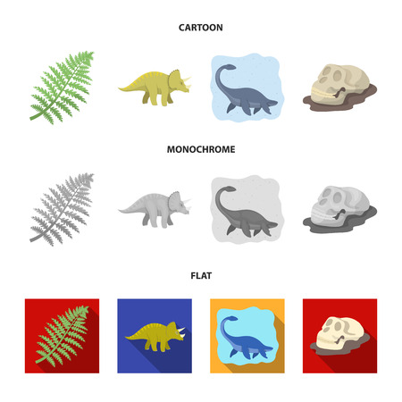 Sea dinosaur,triceratops, prehistoric plant, human skull. Dinosaur and prehistoric period set collection icons in cartoon,flat,monochrome style bitmap symbol stock illustration web. Stock Illustration - 113926606