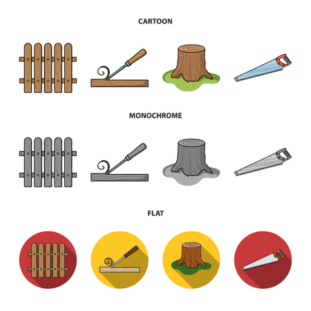Fence, chisel, stump, hacksaw for wood. Lumber and timber set collection icons in cartoon,flat,monochrome style bitmap symbol stock illustration web.