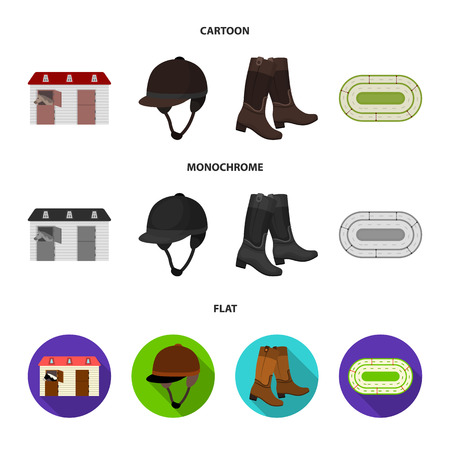 Boots, grass, stadium, track, rest .Hippodrome and horse set collection icons in cartoon,flat,monochrome style bitmap symbol stock illustration web.