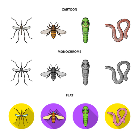 Worm, centipede, wasp, bee, hornet .Insects set collection icons in cartoon,flat,monochrome style bitmap symbol stock illustration web.