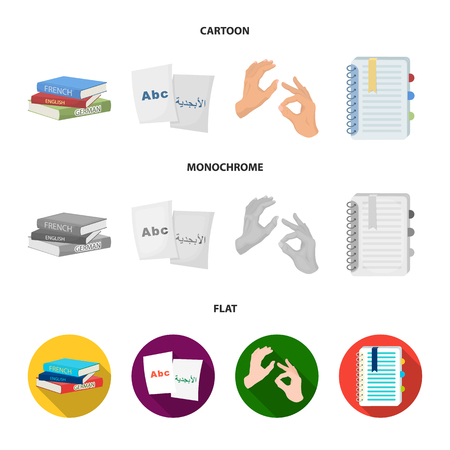 A pile of books in different languages, sheets of paper with translation, a gesture of deaf mutes, a notebook with text. Interpreter and translator set collection icons in cartoon,flat,monochrome style bitmap symbol stock illustration web.