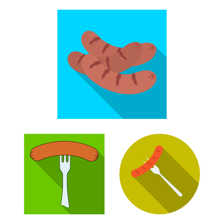 Isolated object of sausage and party symbol. Set of sausage and german  stock vector illustration.
