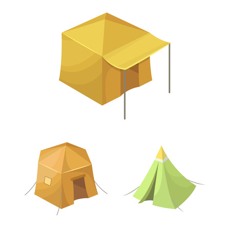 Isolated object of tent  and camp icon. Collection of tent  and forest vector icon for stock.