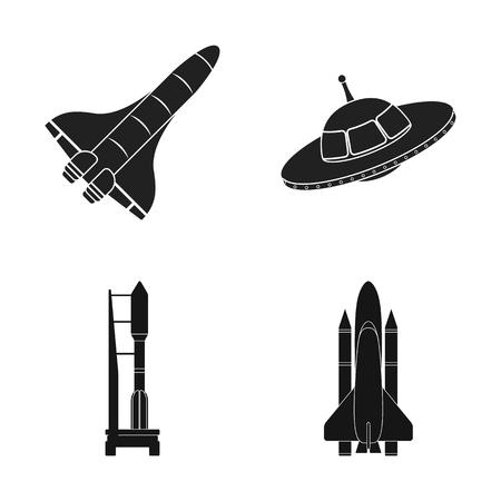 Objeto aislado de la nave espacial y el logotipo de la nave. Colección de icono de vector de nave espacial y estación para stock. Logos