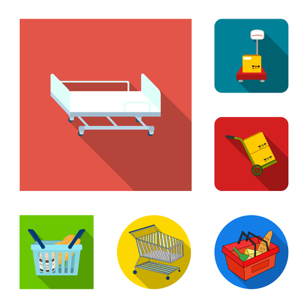 Vector design of basket and wicker sign. Set of basket and market vector icon for stock.