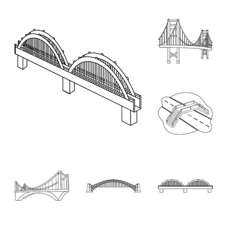 Vector illustration of bridge and construction sign. Set of bridge and arch stock symbol for web.