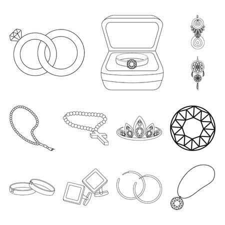 Objeto aislado de joyería y logo de collar. Colección de joyas y colgantes ilustración vectorial de stock.