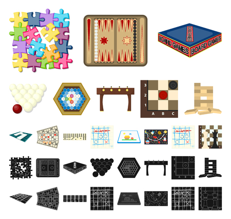 Board game cartoon, black icons in set collection for design. Game and entertainment vector symbol stock web illustration.