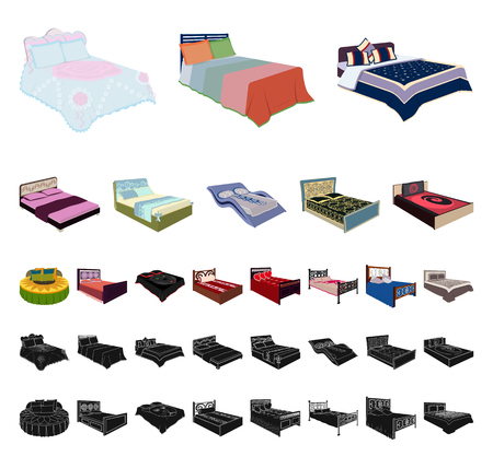 Different beds cartoon, black icons in set collection for design. Furniture for sleeping vector isometric symbol stock web illustration.