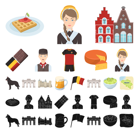 Country Belgium cartoon, black icons in set collection for design.Travel and attractions Belgium vector symbol stock web illustration.