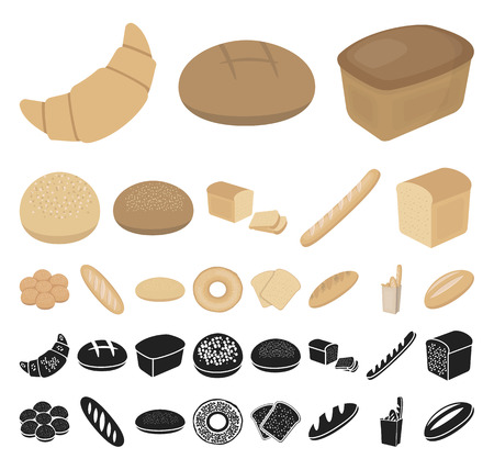 Types of bread cartoon, black icons in set collection for design. Bakery products vector symbol stock web illustration.  イラスト・ベクター素材