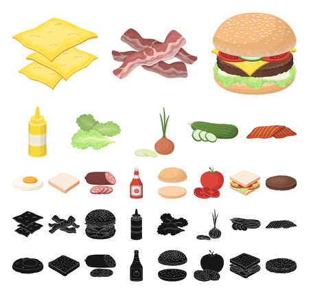 Burger and ingredients cartoon, black icons in set collection for design. Burger cooking vector symbol stock web illustration. Vettoriali