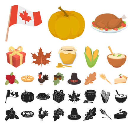 Canada Thanksgiving Day cartoon, black icons in set collection for design. Canada and Tradition vector symbol stock web illustration.