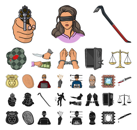 Crime and Punishment cartoon, black icons in set collection for design.Criminal vector symbol stock web illustration.