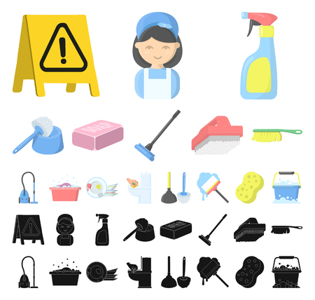 Cleaning and maid cartoon, black icons in set collection for design. Equipment for cleaning vector symbol stock web illustration.