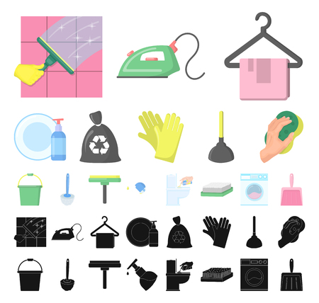 Cleaning and maid cartoon, black icons in set collection for design. Equipment for cleaning vector symbol stock web illustration. Vectores