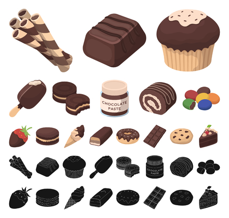 Chocolate Dessert cartoon, black icons in set collection for design. Chocolate and Sweets vector symbol stock web illustration.