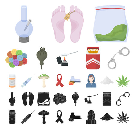Drug addiction and attributes cartoon, black icons in set collection for design. Addict and Drug vector symbol stock web illustration. 向量圖像