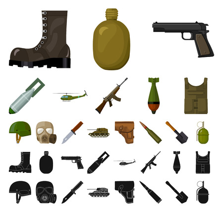Army and armament cartoon, black icons in set collection for design. Weapons and equipment vector symbol stock web illustration.
