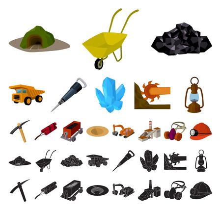 Mining industry cartoon, black icons in set collection for design. Equipment and tools vector symbol stock web illustration. Vektoros illusztráció