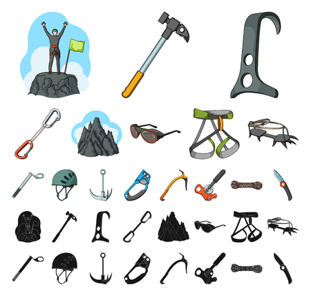 Mountaineering and climbing cartoon, black icons in set collection for design. Equipment and accessories vector symbol stock web illustration.