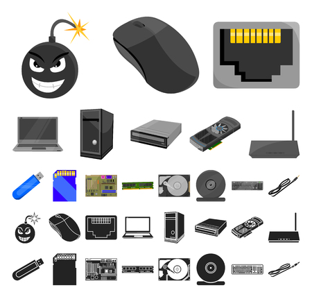 Personal computer cartoon, black icons in set collection for design. Equipment and accessories vector symbol stock web illustration.