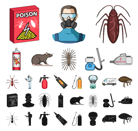 Pest, poison, personnel and equipment cartoon, black icons in set collection for design. Pest control service vector symbol stock web illustration.