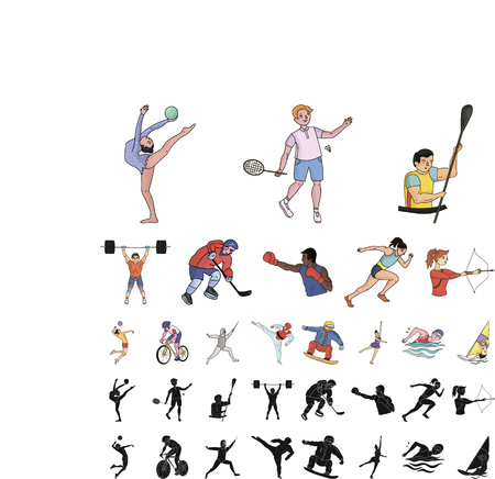 Different kinds of sports cartoon, black icons in set collection for design. Athlete, competitions vector symbol stock web illustration.