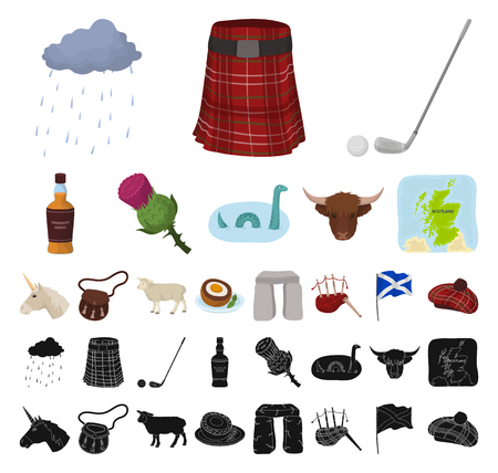 Country Scotland cartoon, black icons in set collection for design. Sightseeing, culture and tradition vector symbol stock web illustration.