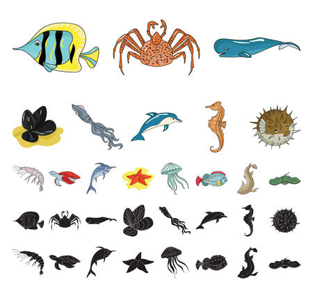 A variety of marine animals cartoon, black icons in set collection for design. Fish and shellfish vector symbol stock web illustration.