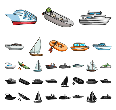 Water and sea transport cartoon, black icons in set collection for design. A variety of boats and ships vector symbol stock web illustration. Ilustração
