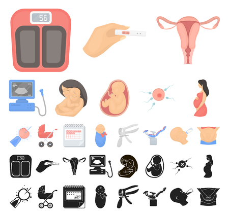Woman and pregnancy cartoon, black icons in set collection for design. Gynecology and equipment vector symbol stock web illustration.
