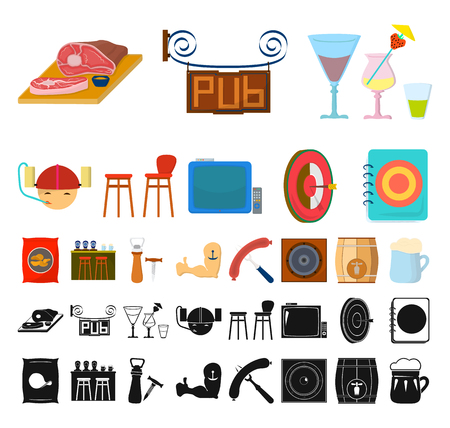 Pub, interior and equipment cartoon, black icons in set collection for design. Alcohol and food vector symbol stock web illustration.