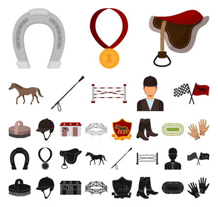 Hippodrome and horse cartoon, black icons in set collection for design. Horse Racing and Equipment vector symbol stock web illustration. Ilustração