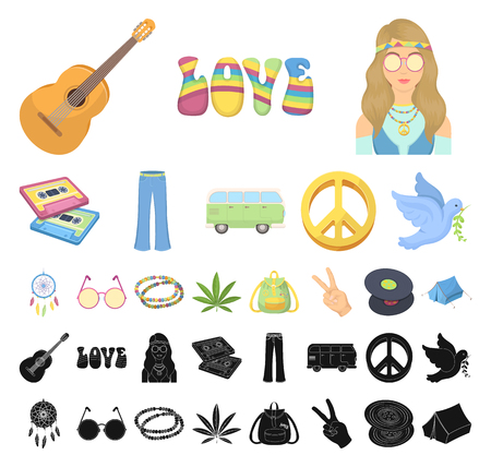 Happy and attribute cartoon, black icons in set collection for design. Happy and accessories vector symbol stock web illustration. 向量圖像